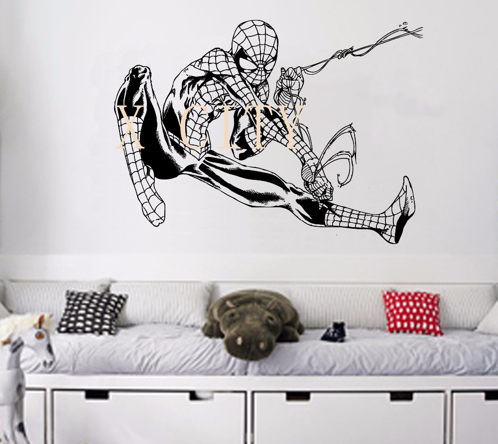 Beautiful Flying Spiderman POSTER SUPER HERO VINYL WALL STICKER ART LIFE SIZE WALL ART  BIG MURAL WALL Part 6