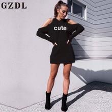 GZDL Autumn Winter New Hooded Casual Women Letter Dress Fashion Street Hoodie Long Sleeve Off Shoulder Mini Dress Vestido CL4499