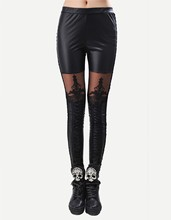 Women Leggings Sexy PU Leather Stitching Embroidery Hollow Lace Legging Women Legging