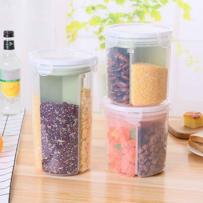 LASPERAL 4 Lattices Plastic Kitchen Storage Box Refrigerator Food Preservation Container Rice Beans Stoarge Jar With Seal Cover