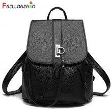 FGJLLOGJGSO Brand Pu Leather Backpack Women School Bag Teenagers Girls String Backpacks Medium Female Backpack Lady Shoulder Bag