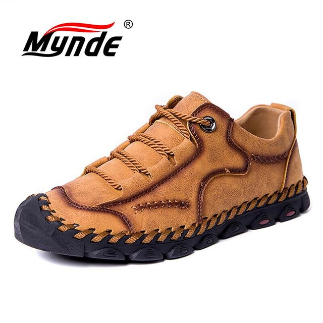 Mynde 2019 yeni moda stil deri bahar rahat ayakkabılar erkekler el yapımı Vintage loaferlar daireler sıcak satış Moccasins büyük boy 38 48