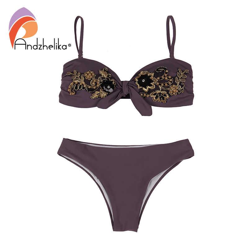 Andzhelika Sexy Bikini Vrouwen Borduren Bloemen Badpak 2020 Zomer Bandeau Braziliaanse Bikini Set Badpak Badmode Monokini