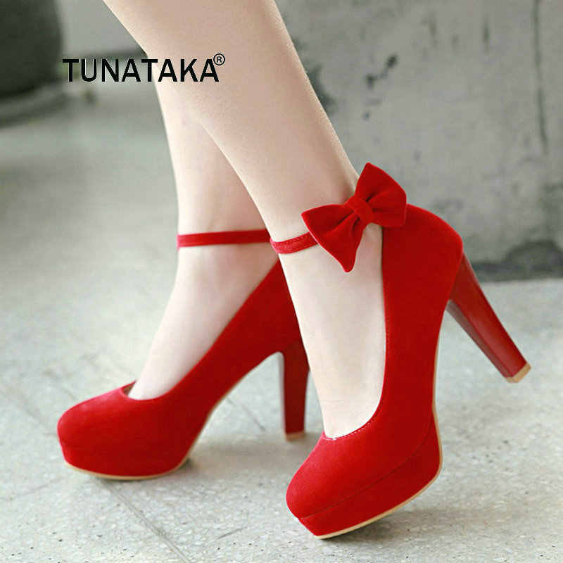 Sweet Bow Knot With Buckle Thick High Heel Pumps Fashion Platform Round Toe  Dress Women Shoes d52ebf15d761