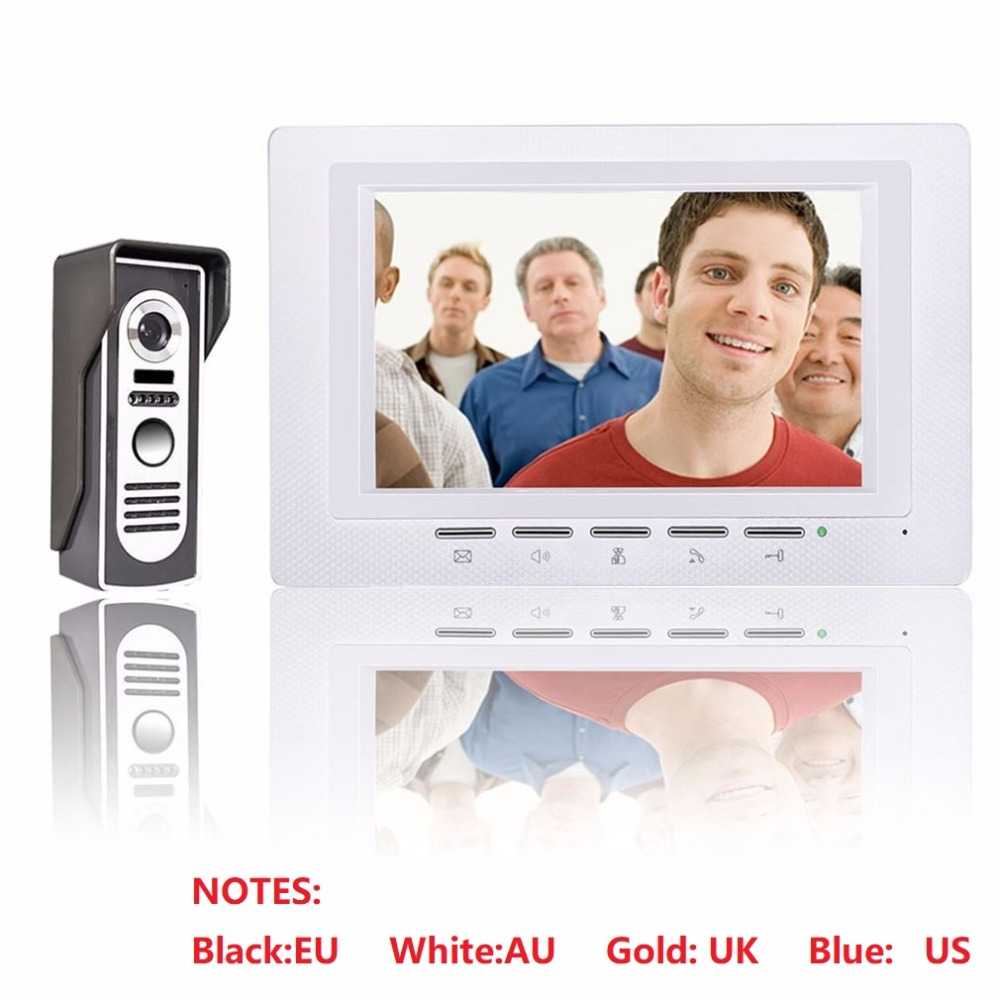 7 inch 1V1 Video Door Phone Doorbell Intercom Kit Color LCD Screen + Security Outdoor Camera Night Vision Access Control System 7 inch tft touch screen lcd color video door phone doorbell wall mounted intercom system night vision eye camera doorphone