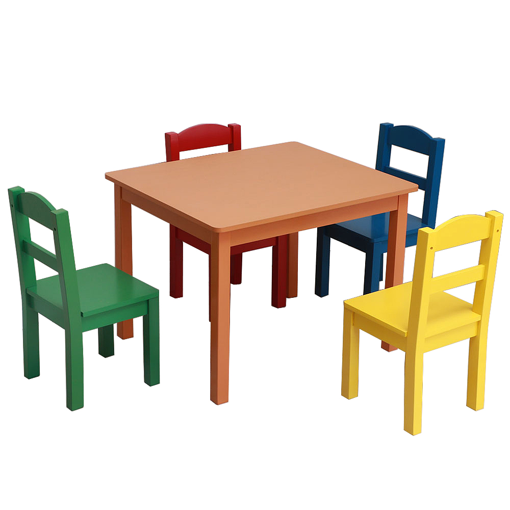 Kids Wood Table & 4 Chairs Set Multi-color