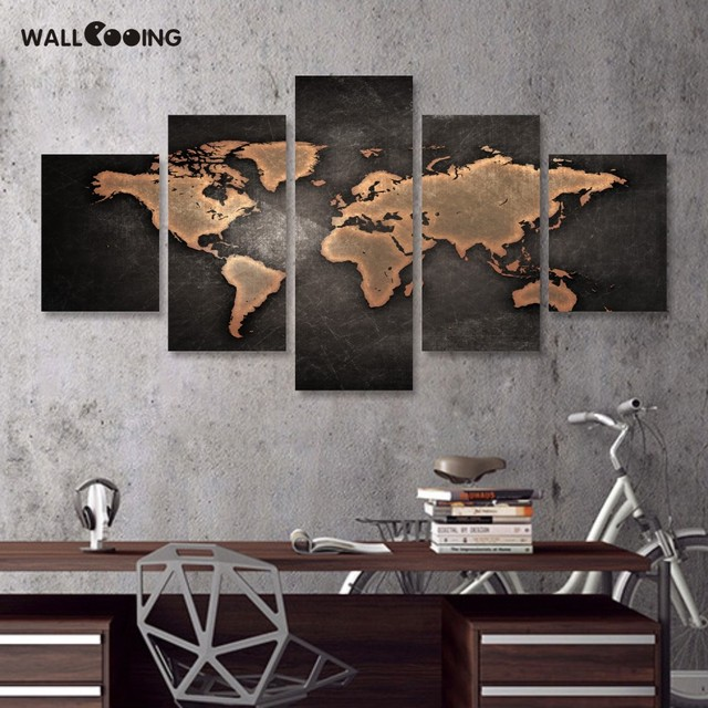 Wall Cooing Home Painting Calligraphy World Map Picture Waterproof Canvas Hd Print 5pcs Black Design Art