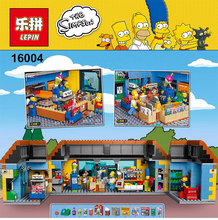 On stock New Lepin 16004 The Simpsons Bart Homer Minifigure Action Figures Model Building Block Bricks