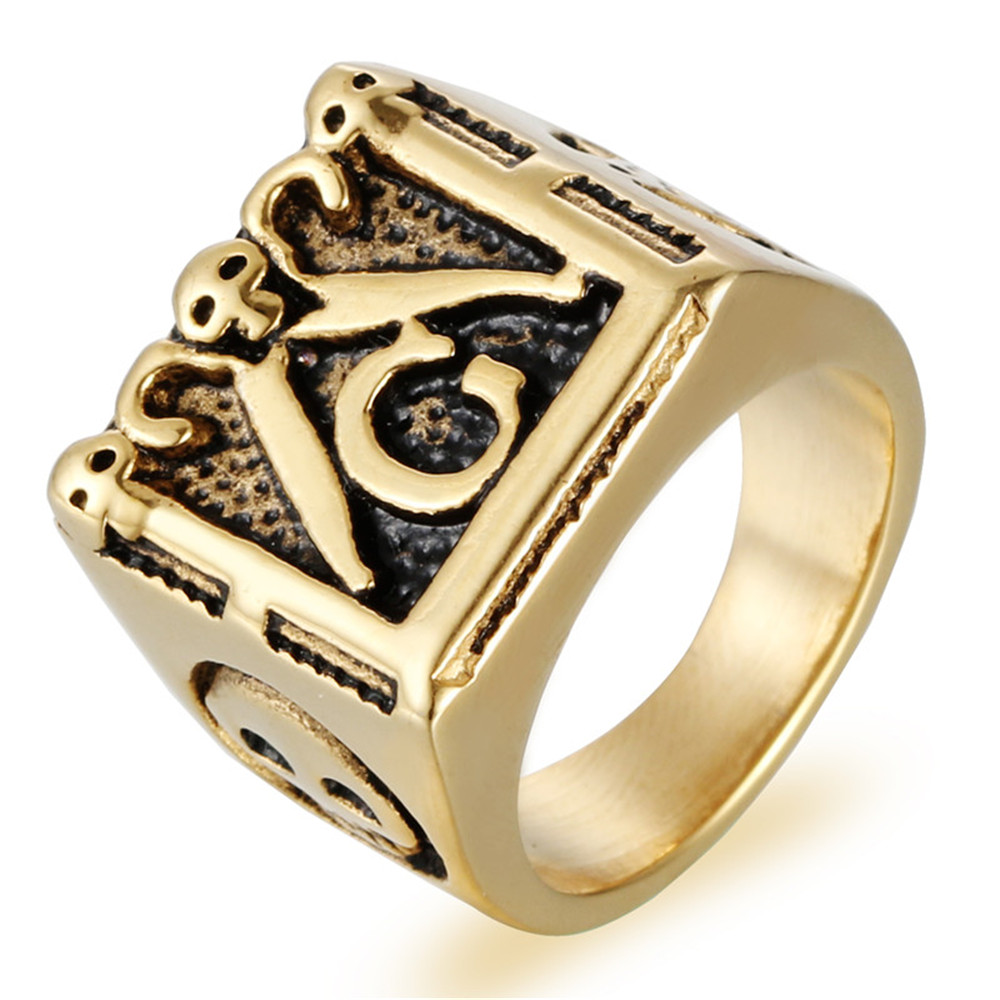 Fashion Ring Man Stainless Steel Freemasons AG Cross Ring Is Plated with Titanium Ring
