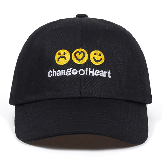 0d340e79 High Quality Letter change of heart dad hat Cotton Baseball Cap For Men  Women Emoticons Hip