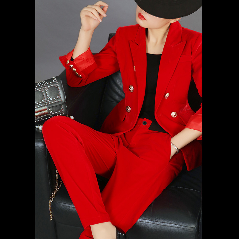 Temperament Pants Suit Autumn New Fashion Temperament OL Professional Small Suit Jacket Gold Velvet Suit Set Two-piece Female