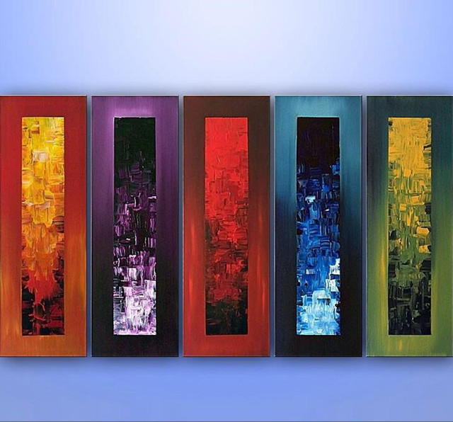 Hand Painted 5 Panel Painting Bedroom Modern Abstract Graffiti ...