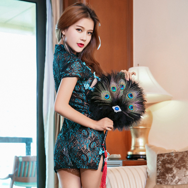 Sexy Nightclub Retro Peacock Embroidery Cheongsam Lingerie Women Lace Perspective -6685