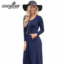 Loose Robe Spring 2018 Women Elegant Long Dress O-neck Long Sleeve Tighten Waist Maxi Dress Pocket Knitted Cotton Women Clothing