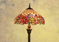 European style Tiffany rose flower Stained Glass floor lamp for dining room bedroom lamp E27 110 240V