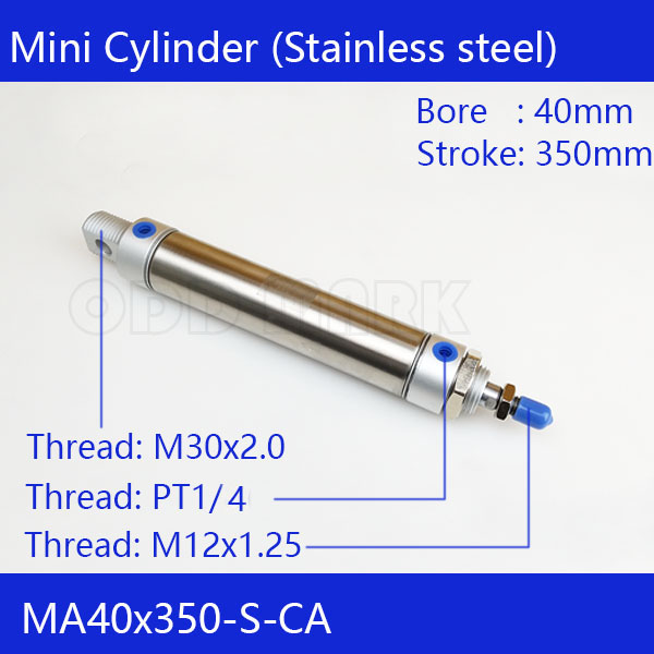 Free shipping Pneumatic Stainless Air Cylinder 40MM Bore 350MM Stroke , MA40X350-S-CA, 40*350 Double Action Mini Round Cylinders 41 1mm 350 cylinder