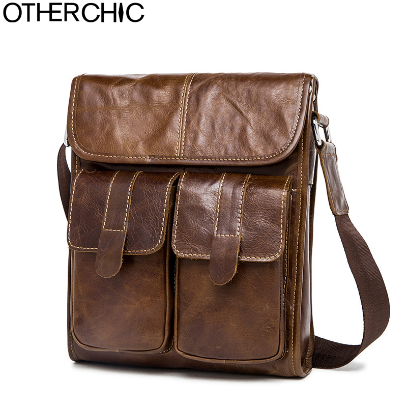 OTHERCHIC Genuine Leather Retro Men Bags Brand Designer Handbags Shoulder Vintage Cow Cr ...