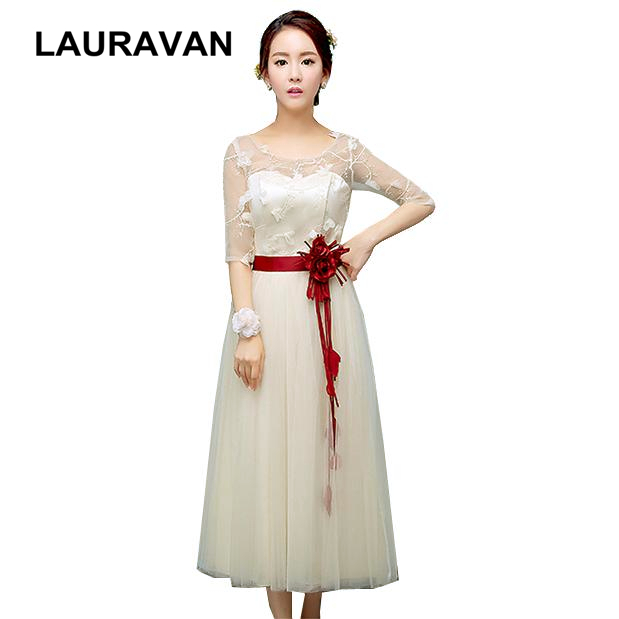 special occasion champagne short   bridesmaid     dresses   2019 half sleeve brides maid tea length ball gown   dress   for wedding guests