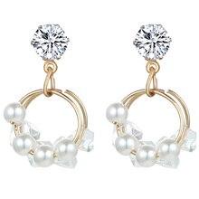 цена на 2019 Fashion Double Circle Gold Drop Earring For Women Simple Fashion Crystal Imitation Pearl Dangle Statement Earrings Jewelry