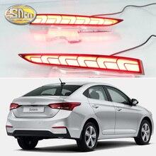 2PCS For Hyundai Solaris Accent 2017 2018 Multi-functions Car LED Rear Fog Lamp Bumper Light Auto Brake Reflector