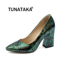 Women Thick High Heel Slip On Lazy Shoes Fashion Pointed Toe Dress Party New Pumps Green Purple