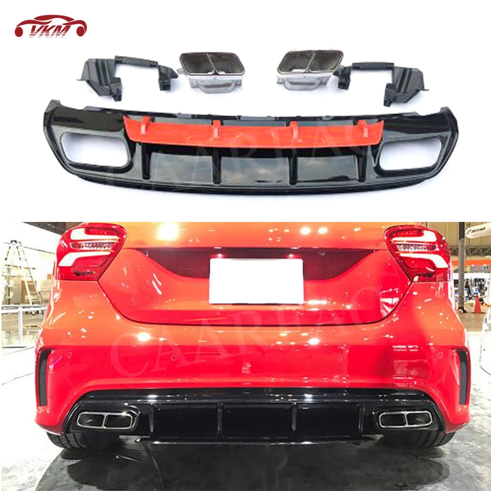 A Class PP Rear Bumper Lip Diffuser with Exhaust Tips 4 Outlet for <font><b>Mercedes</b></font> <font><b>Benz</b></font> <font><b>W176</b></font> A180 <font><b>A200</b></font> A45 AMG 2013 - 2019 image