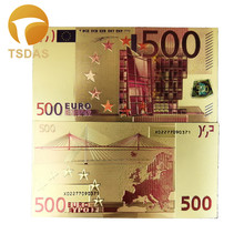 New Style 10pcs/lot Colored Euro Banknotes 500 EUR Gold Banknote in 24K Plated for Collection Business Gifts