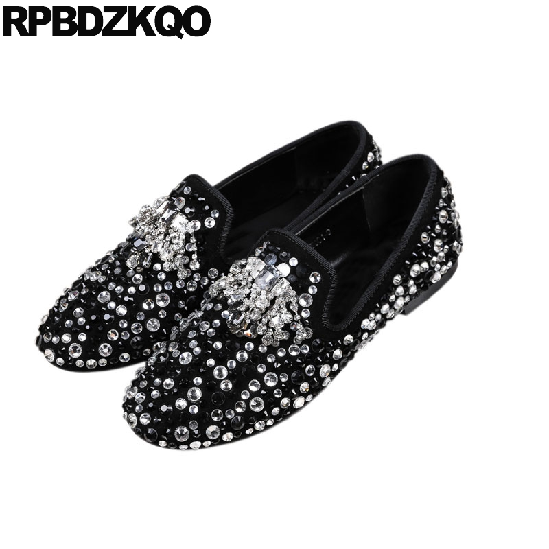 loafers large size crystal diamond   suede   flats genuine   leather   designer shoes women luxury 2018 ladies high quality rhinestone
