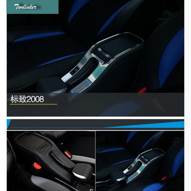 Tonlinker 1 Pcs DIY Car Styling Stainless Steel Handbrake Storage Box Control Panel Cover Case Stickers