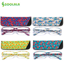 SOOLALA 4 قطعة المرأة نظارات للقراءة الربيع المفصلي مستطيلة مطبوعة نظارات للقراءة ث/مطابقة الحقيبة + 1.0 1.5 1.75 2.25 إلى 4.0