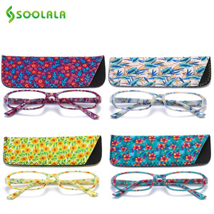 Image 1 - SOOLALA 4pcs Womens Reading Glasses Spring Hinge Rectangular Printed Reading Glasses w/ Matching Pouch +1.0 1.5 1.75 2.25 to 4.0