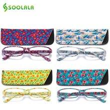 SOOLALA lunettes de lecture rectangulaires, imprimées, pour femmes, 4 pièces, avec pochette assortie + 1.0 1.5 1.75 2.25 à 4.0