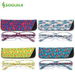 Image 1 - SOOLALA lunettes de lecture rectangulaires, imprimées, pour femmes, 4 pièces, avec pochette assortie + 1.0 1.5 1.75 2.25 à 4.0