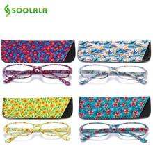 Soolala 4 pçs óculos de leitura das mulheres dobradiça mola retangular impresso óculos de leitura com correspondência bolsa + 1.0 1.5 1.75 2.25 a 4.0