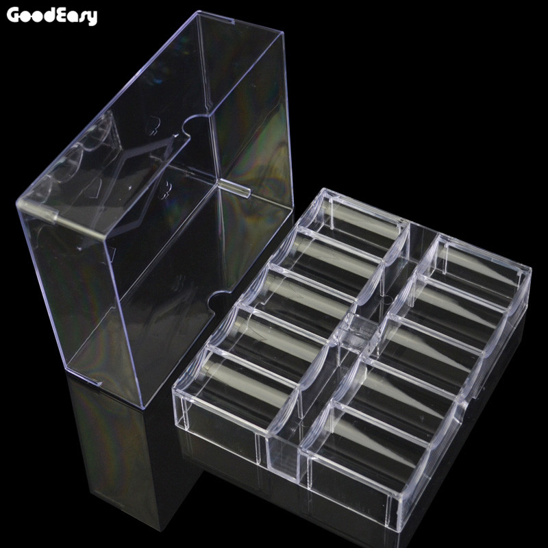 Hot professionnel Casino Pokerstars jeu Transparent Poker puce Set plateau 20 rangées/200 jetons conteneur titulaire mallette de rangement avec couvercle