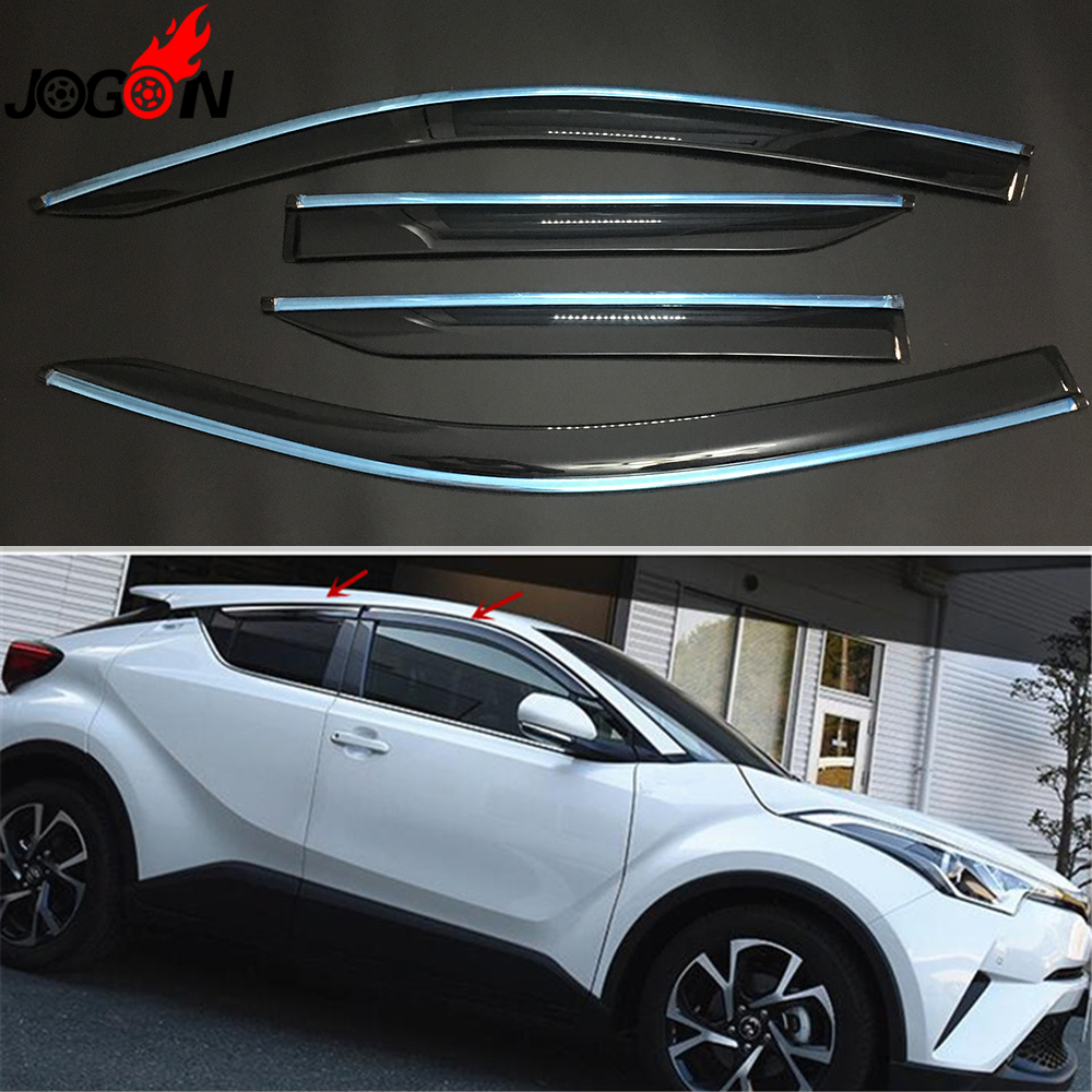 For Toyota C-hr Chr 2016 2017 2018 Car Window Sun Rain Visors Super Vent Shade Deflector Guard Shield 4pcs/set