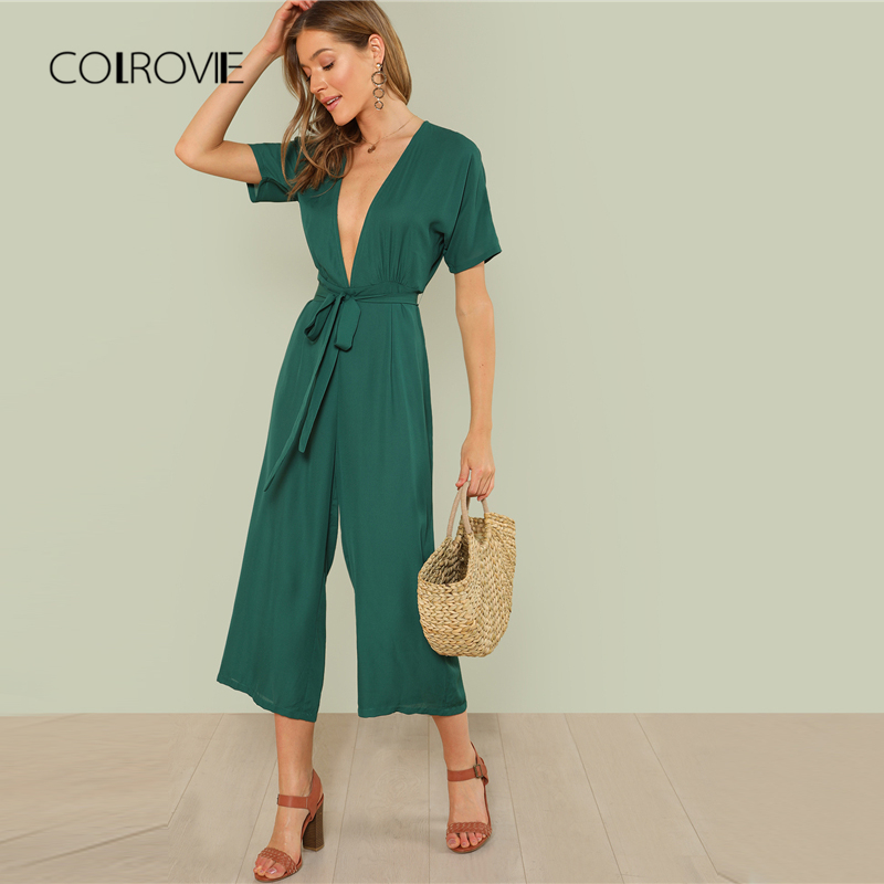 88bdb358a2b COLROVIE Plunge Neck Belted Culotte Jumpsuit Women Green Deep V Neck Sexy Jumpsuit  2018 New Short Sleeve Knot Summer Jumpsuit -in Jumpsuits from Women s ...