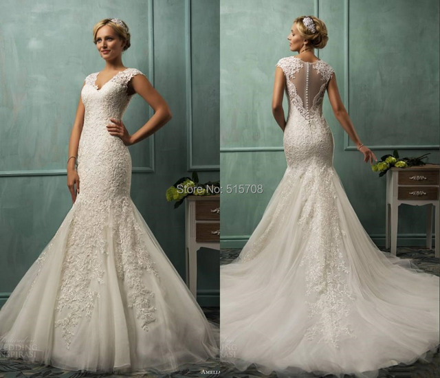 New Mermaid Wedding Gowns V Neck Cap Sleeve Appliqued Fit Flare ...
