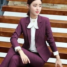 Women pants suit long sleeve blazer and pant office ladies plus size work wear