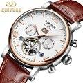 KINYUED Мужские механические часы Автоматические турбийоны наручные часы бизнес кожа водонепроницаемые Reloj спортивные часы Montre Homme
