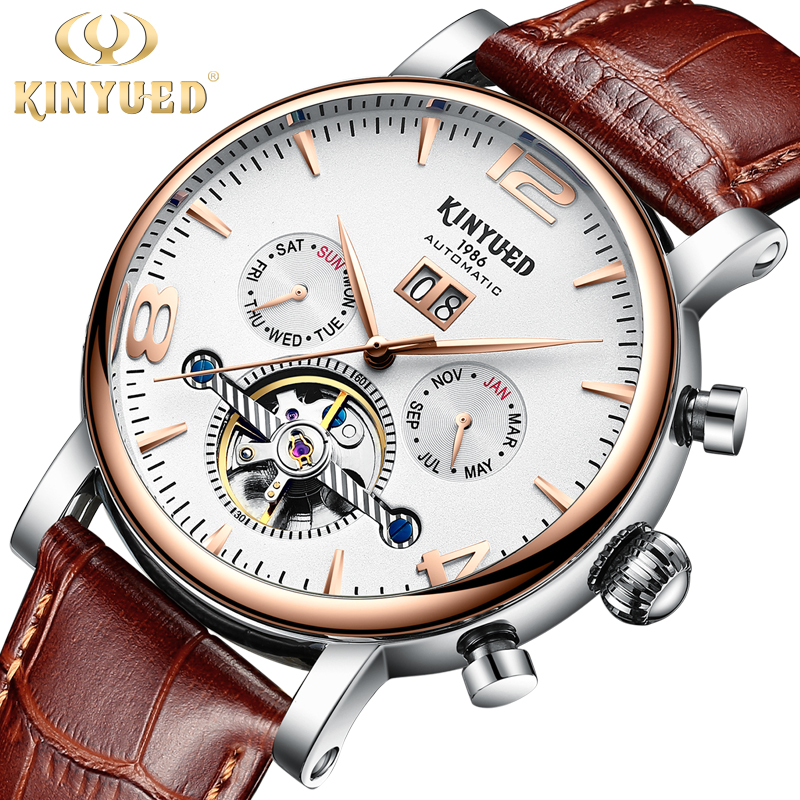 все цены на KINYUED Men Mechanical Watch Automatic Tourbillon Wristwatches Business Leather Waterproof Reloj Sports Watches Montre Homme