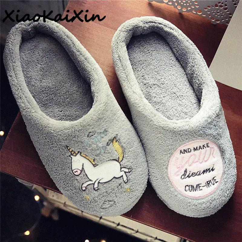 XiaoKaiXin Unicornio delicate zapatillas Lovely Cartoon Unicorn Home Slippers For Women Winter Warm Plush House Shoes chinelo indoor cartoon cute plush unicorn slippers for women adult warm animal shoes furry fluffy unicornio shoe house winter home anime