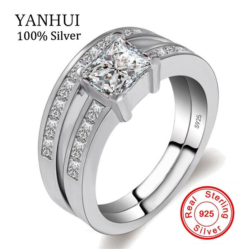 YANHUI 100% Réel Naturel 925 Solide Argent Anneaux Set pour femmes Sona AAA Cubique Zircone Anneaux De Mariage de Fiançailles Bijoux RA019