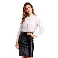 Weiß OL Arbeit Stil Frauen Bluse Langarm-shirt Krawatte Bowknot Lose Beiläufige Elegante Solide Blusas 2018 Kleidung Blusen WS6471U