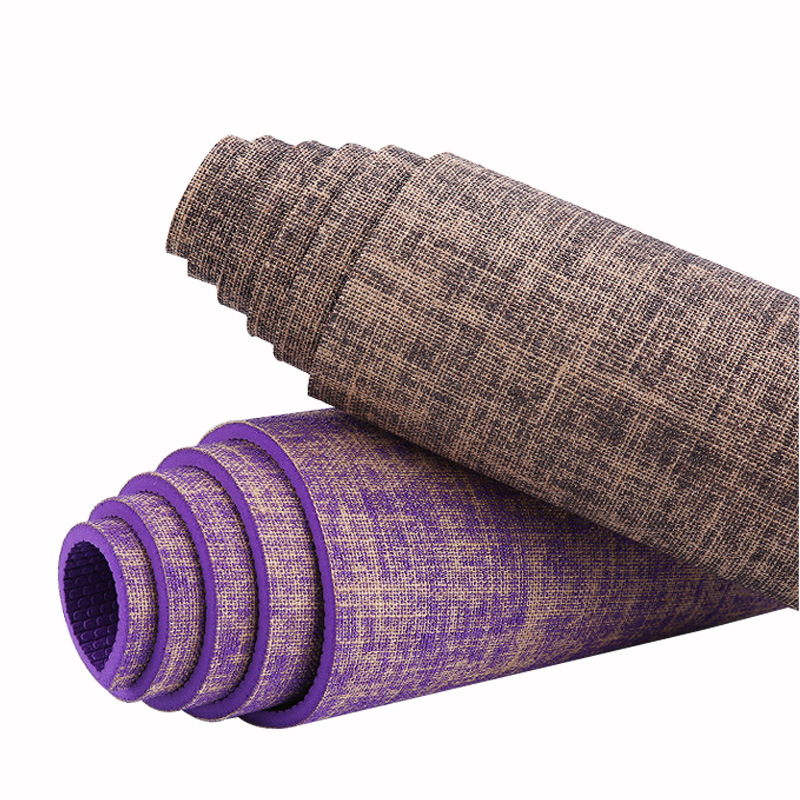 Linen yoga mat PVC long thick non-slip environmental protection exercise fitness crawling PVC yoga mat exercise mat