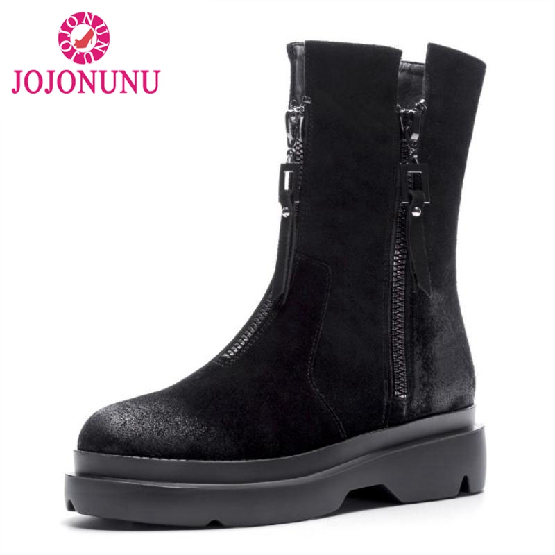 JOJONUNU Women High Heel Boots Mid Calf Genuine Leather Zipper Shoes Women Half Short Botas Fur Winter Footwear Size 34-40 qutaa national style winter women shoes genuine leather flat heel mid calf boot zipper women motorcycle snow boots size 34 40