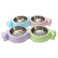 높은 품질의 분리 애완 동물 개 그릇 스테인레스 스틸 미끄럼 고양이 더블 그릇 물 식품