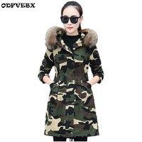 Autumn winter women jacket new Korean camouflage cotton coats Padded warm Parkas Outwear medium long fur collar women jacket