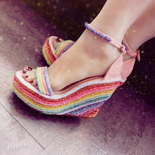 Newest Style Rainbow Color Platform Ankle Buckle Strap Pumps Bling Open Toe 10cm Wedge Shoes Party Heels Free Shipping