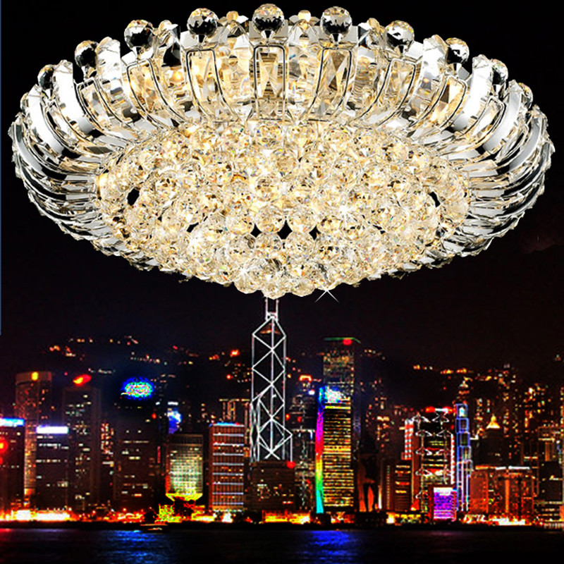 Aliexpress Buy Luxury Ceiling Light For Living Room Crystal Chrome Lamp Led Remote Control Round Lighting Lamps From Reliable
